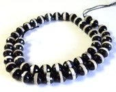 "Stunning Smoky Banded Agate 8mm Faceted Round Gemstone Beads, 16"" Strand, Jewelry Supplies, Black Cream Semi Precious Beads"