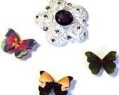 Vintage Brooch Upcycled Flower Magnet, Silver with Purple Rhinestone Beads, 3 Butterfly Magnets,  Home Decor