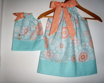 Doll and me SALE 10% off code is tiljan dresses aqua coral floral  Pillowcase dress   size  12 months , 2t, 3t, 4t, 5t. 6.7.8.9,10.12,14