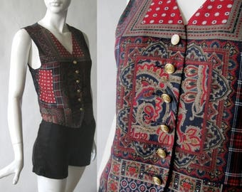 MOVING 4 GRADSCHOOL SALE Vintage silky print vest in rich red, deep blue, golden brown, and emerald, with golden coat of arms buttons, Liz C