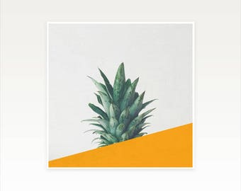 Pineapple Art, Tropical Fruit Print, Abstract Photography, Minimal Orange and Green Wall Decor - Pineapple Dip IV