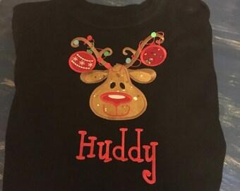 Reindeer with lights Appliqued Shirt