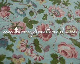 Turquoise Cottage Floral  - Vintage Fabric 36 inches wide 50s New Old Stock Chintz