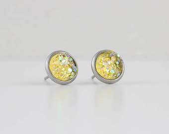 Lemon Yellow Druzy Crystal Earrings | ATL-E-155
