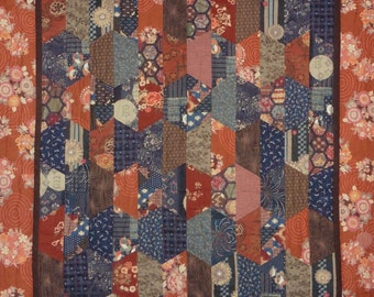 Patchwork Quilt - navy and rust Japanese Hexcentric throw