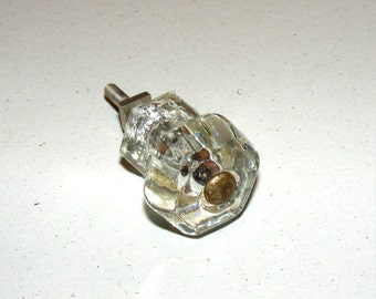 Vintage Crystal Glass Drawer Pull Knob Hardware with Set Screw