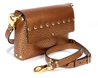 Copper Ostrich Crossbody Bag | Copper Handbag | Vegan | Made in USA