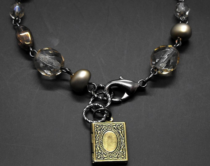 Book Locket Bracelet Beaded Glass Literary Themed Jewelry