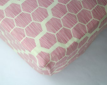 Pink Honeycomb Fitted Crib Sheet, Changing Pad Cover, Mini Crib Sheet