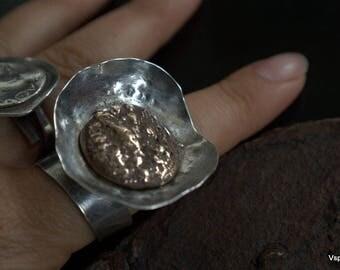 Rustic silver ring brass Eco friendly sculptural wabi sabi artisan jewelry eagle in brass