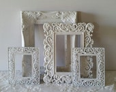 Cottage White Baroque Filigree Ornate Wall Frame Set of 4 Empty Frames Shabby Chic Baby Nursey Gallery Frames Wedding Victorian Home Decor