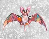 Bat   Art Print   Nature Wall Art   Katie Daisy   8x10   11x14