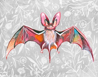 Bat | Art Print | Nature Wall Art | Katie Daisy | 8x10 | 11x14