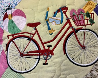 """Vintage Quilt Decorative Pillow  . . . Embroidered BICYCLE with FUN in the SUN Accessories  . . . 14"""" Pillow"""
