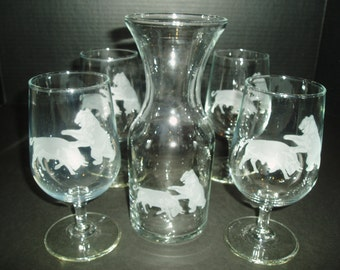 Toscany Bull and Bear Etched Carafe & Wine Glass Set, Toscany Decanter and Wine Glasses, Vintage Barware, 5 Piece Wine Set,Wall Street Gifts