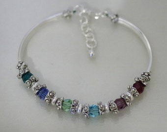 Swarovski Crystal Jewelry -  Mothers or Grandmothers Bracelet - Single-Strand - Up To 6 Crystals / Birthstones