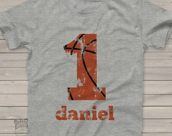 basketball birthday t-shirt - basketball party shirt - distressed number and lettering - pick any number