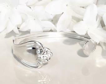 STERLING Silver Cuff Bracelet, Silver Bracelet Cuff, Sterling Silver, Spoon Bracelet, Cuff, Spoon Jewelry - 1940 GEORGE & MARTHA
