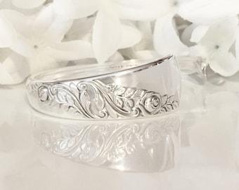 Spoon Bracelet CUFF, Silver Cuff Bracelet, Silver Bracelet Cuff, Bracelet Cuff - 1953 Bridal Corsage
