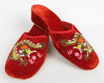 Vintage Chinese Dragon Beaded Red Velvet Slippers, Mules, Wedge Heels, Sz 36 / 6.5