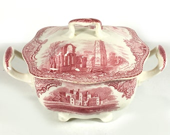 """Vintage Sugar Bowl with Lid, """"Old Britain Castles - Pink"""" with Crown Backstamp) by Johnson Bros., P{ink and White, Landscapes, Floral Border"""