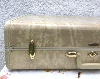 Classic Vintage Large Cream-colored Samsonite Suitcase, Hard-Sided, Rubberized Trim, Brass Hardware, Sage Green Silky Lining, Original Key!