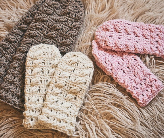 Crochet PATTERN - Cable Mittens - (sizes- baby to adult)