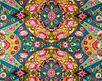 "Bright Boho Curtains, Bohemian Home Decor, Blue Kaleidoscope Drapes, Vibrant Window Curtains, Colorful, Floral Rod-Pocket 50""W, One Pair"