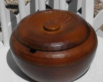 Rice Dish with Lid Brown Serving Dish Vintage