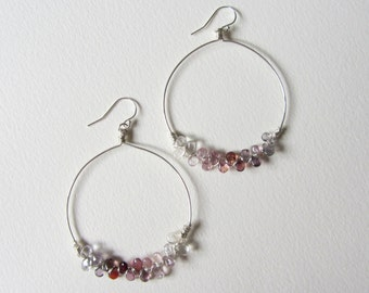 Tourmaline Hoop Earrings with Sterling Silver