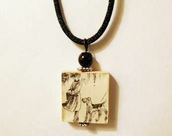 AIREDALE TERRIER Necklace / Scrabble Pendant with Cord / Handmade Jewelry / Unusual Gifts