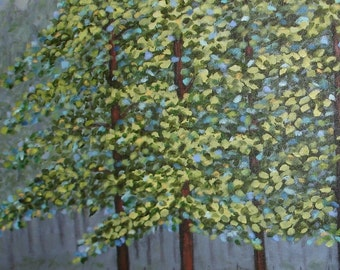 TREE Painting -Woodlands -Large 24x30 - Beautiful trees -  Palette of blues, greens and grays - 24x30 deep edge LINEN canvas - Original Art