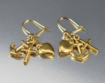 Antique Gold Charm Earrings, Faith Hope Love Pendants, 9K Gold Anchor Cross Heart Victorian Earrings, Love Token Charms Drop Dangle Earrings
