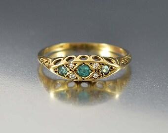 Antique Diamond Emerald Ring, Victorian Gold Emerald Wedding Band Ring, Antique Engagement Ring, Gold Diamond Ring, Bohemian Stacking Ring