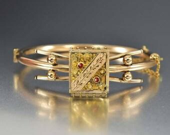 Antique Garnet Rose Gold Bracelet, Victorian Garnet Bracelet, Cuff Bracelet Bangle, Engraved Flower Bracelet, Antique Wedding Bracelet