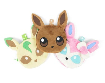 Eevee Evolution Zipper Coin Pouch with Dotted Lining Flareon Jolteon Vaporeon Leafeon Glaceon Umbreon Espeon Sylveon
