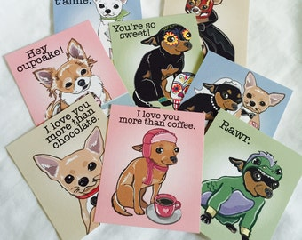 Chihuahua Valentines - Candy Colors - Mini Eco-friendly Set of 8