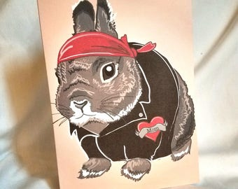 Custom Biker Bunny Tattoo Greeting Card