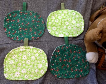 Table Protector Pot Pads Pillows, Flowers Green Calico Lime Prints