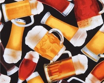 213257 black with glasses of beer alcohol fabric Timeless Treasures