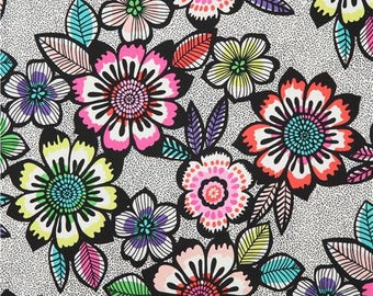 214324 white black Alexander Henry fabric big colorful flower Acapulco