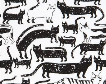 214898 white twill cat animal fabric from Japan