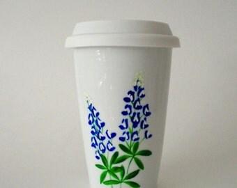 Ceramic Travel Mug Eco-Friendly Texas Bluebonnets