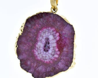 Agate pendant gold leaf borders, varied sizes shapes, sold by each