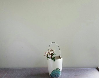 Wall vase with wire, small blue and white vase, hand drawn flower vase with spiral design, ceramic spring flower garden vase