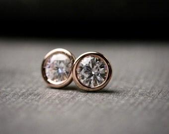 5mm solid rose gold moissanite bezel set stud earrings 1 carat