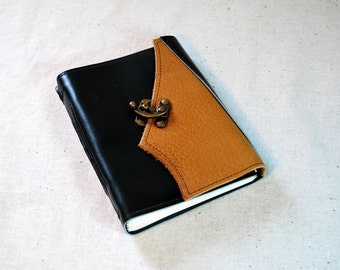 SUMMER SALE:  Dark Green Leather Latch Journal with Recycled Paper - Medium