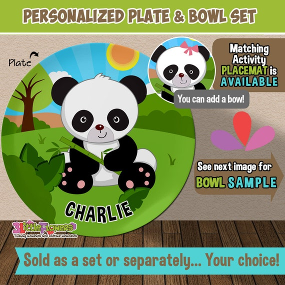 Il_570xn & Baby Panda Plate and Bowl Set - Personalized Plastic Children Plate ...