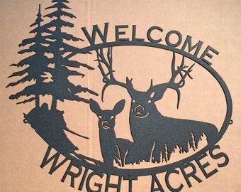 Big Buck & Doe Custom Name / Welcome Sign SMALL (09)