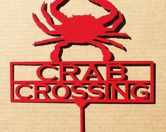 Crab Crossing Garden Stake (A12)